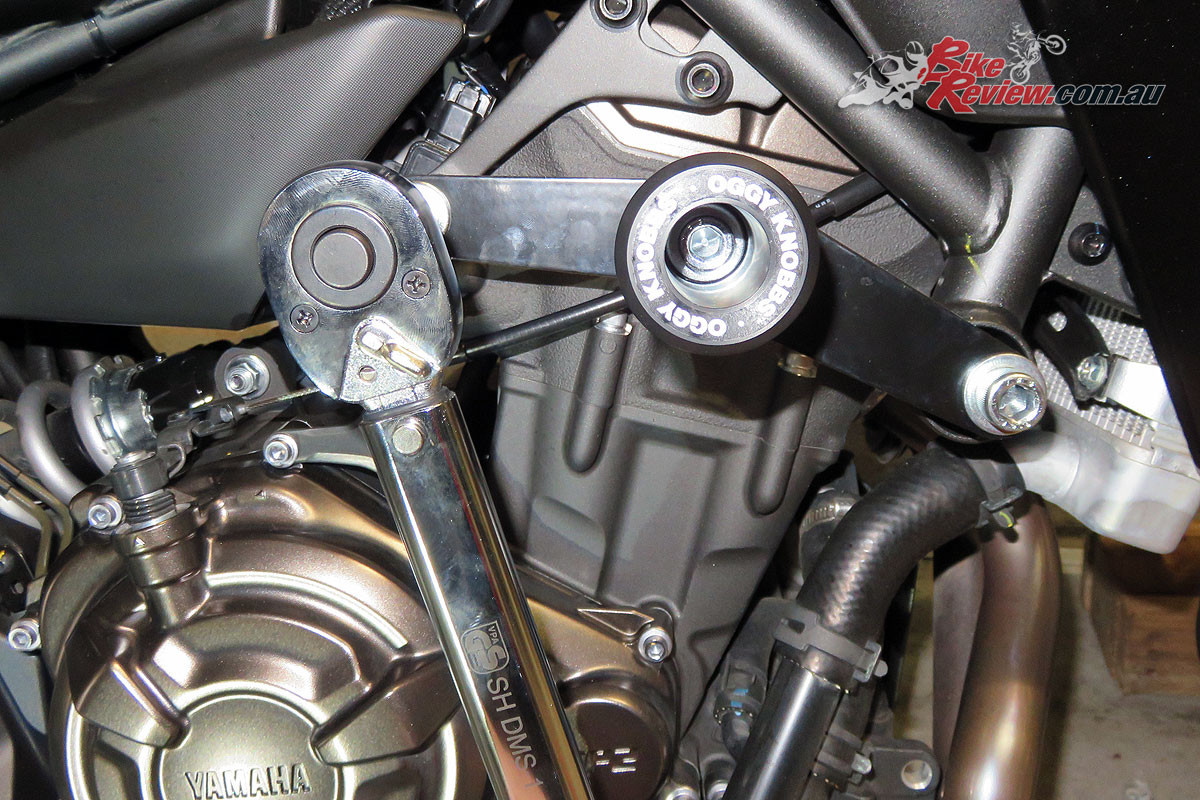Once you've got everything in place you can tighten the bolts to the recommended levels with your torque wrench