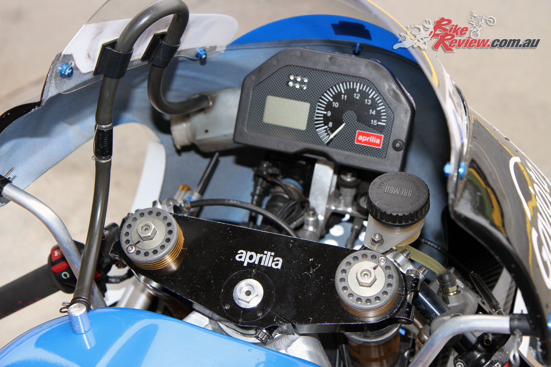 The factory Aprilia dash is actually extremely high tech, with the RSW250 including traction control and full telemetry.