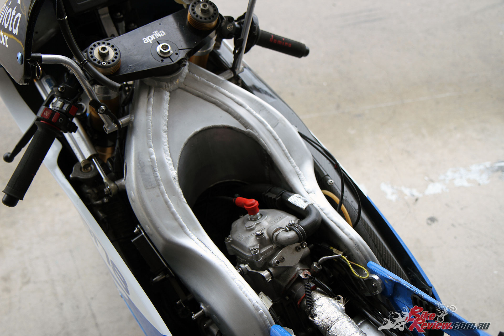 The firm but flexible chassis reminded Peter Galvin of the Honda 250 GP bike
