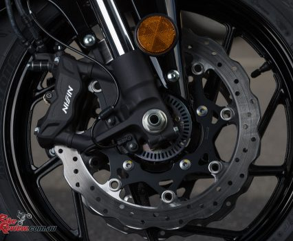 New four-piston Nissin radial mount two-piece calipers offer good bite and modulation