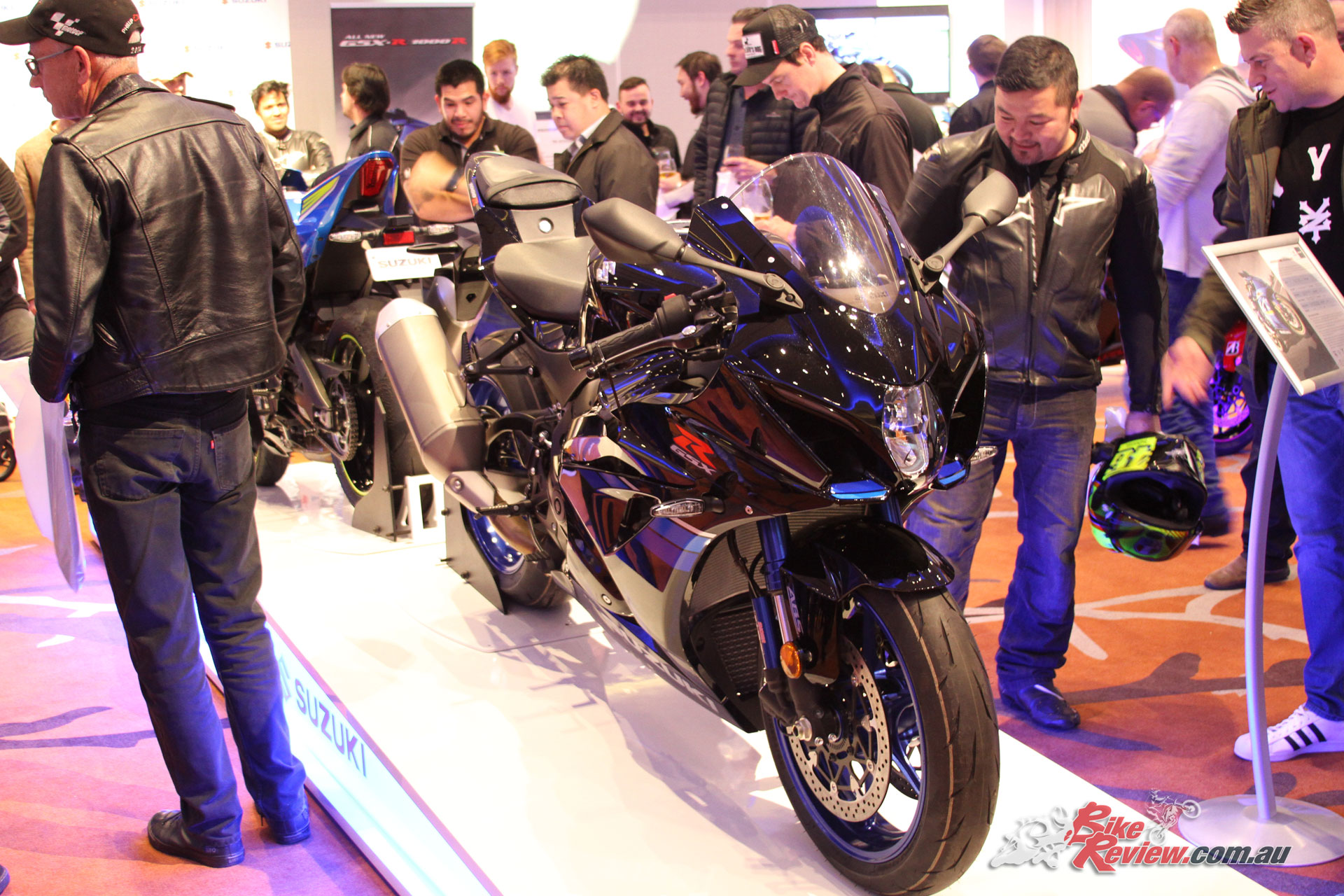 Suzuki's not yet available GSX-R1000Rs took pride of place and will be available later in the year