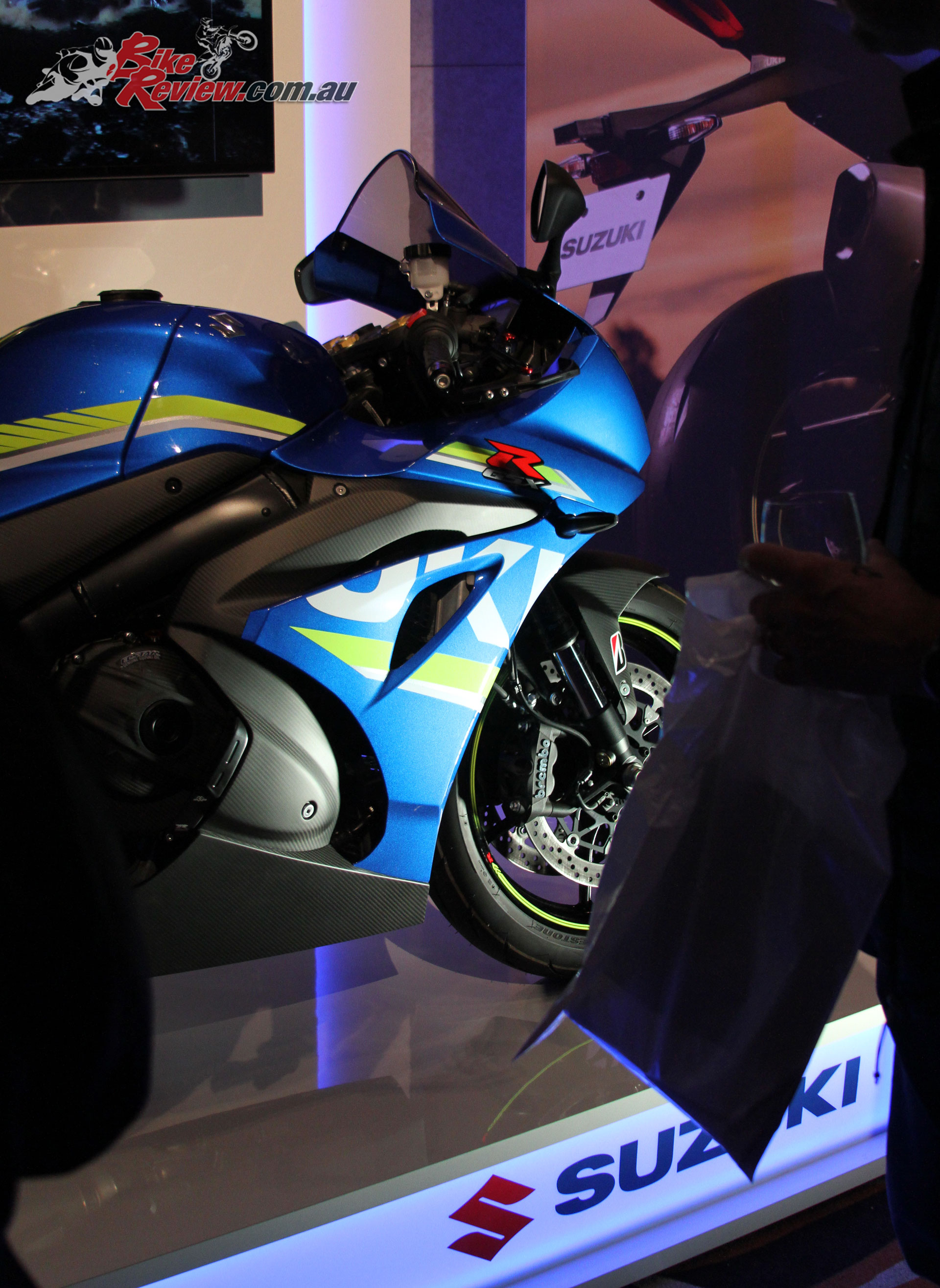 The GSX-R1000 looks awesome kitted out in the accessories, took me a second to realise it had carbon-fibre fairing pieces