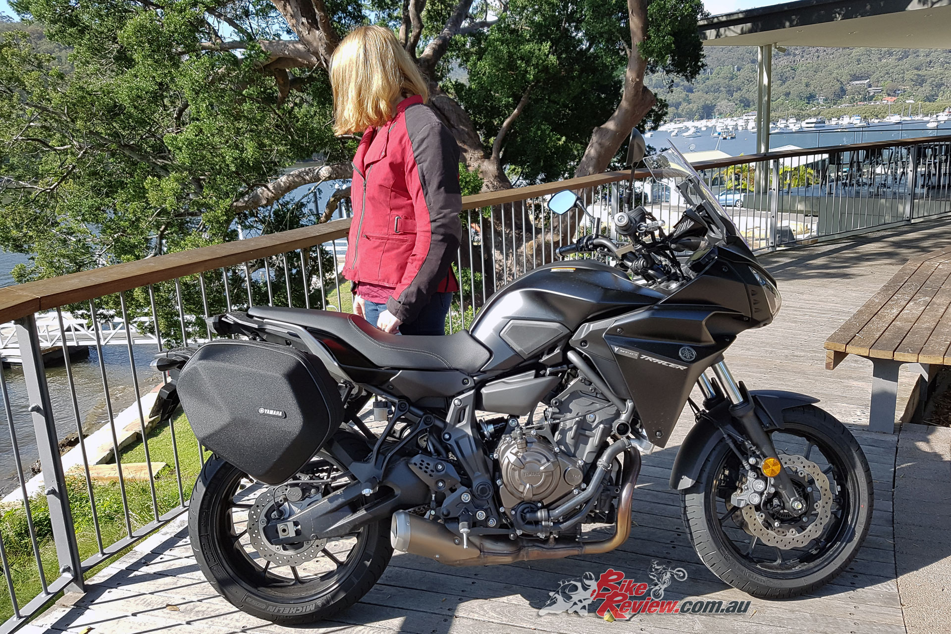 Sam our pillion reviewer with the Yamaha MT-07 Tracer