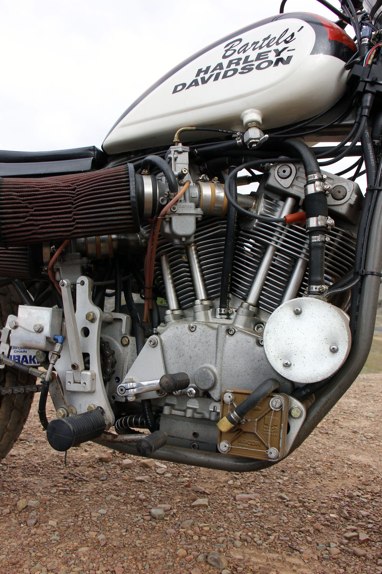 With the all alloy XR 750, Harley released a powerplant to match the chassis, although this offering features a C&J rolling chassis