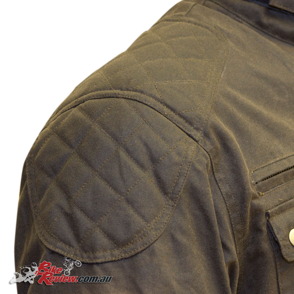 Safetech CE armour is found in the shoulder and elbows with diamond stitch quilted shoulder overlays