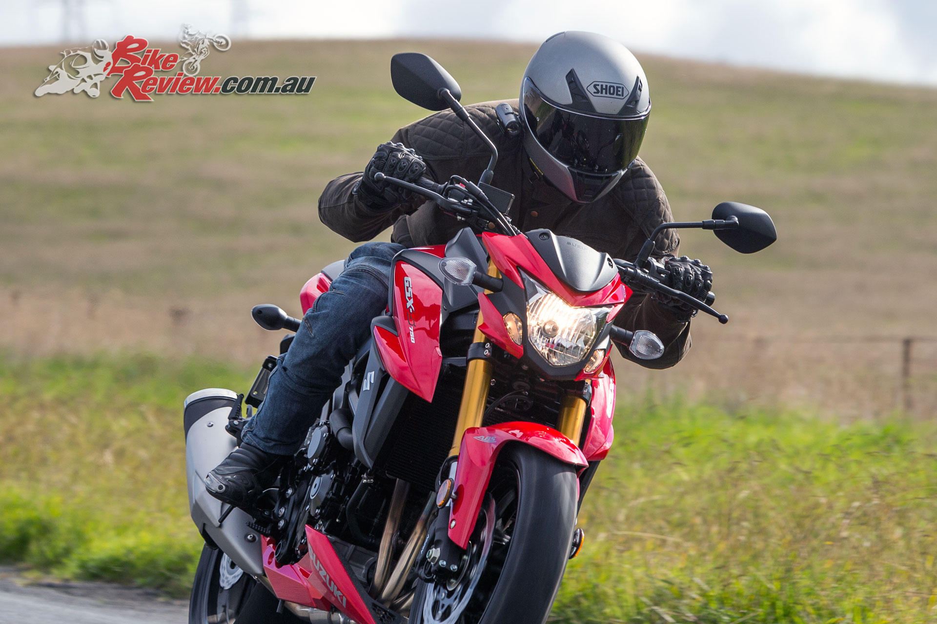 Testing out the Shoei RYD helmet at the recent Suzuki GSX-S750 launch