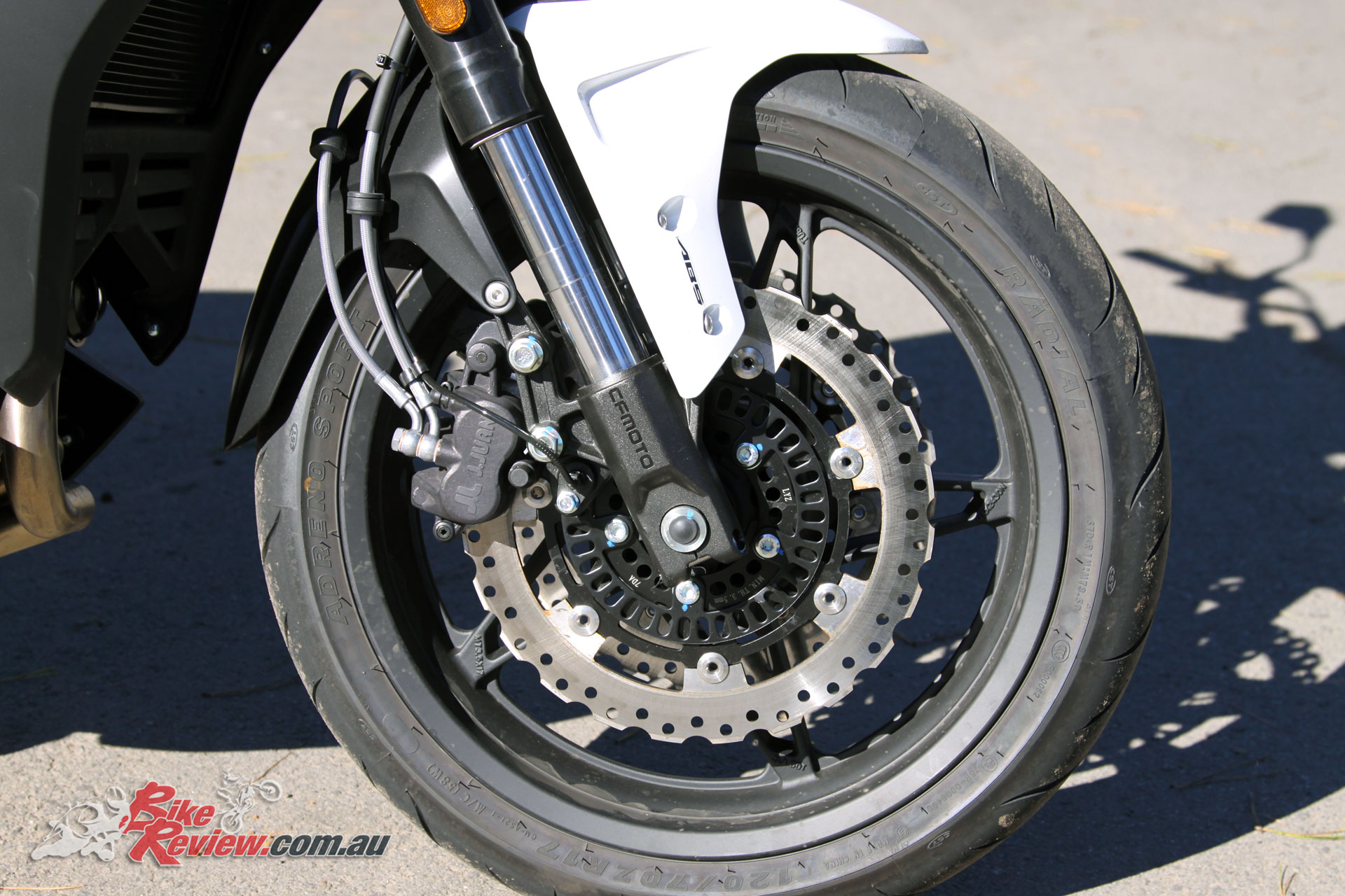 2017 CFMoto 650MT 300mm front rotors with dual-piston calipers