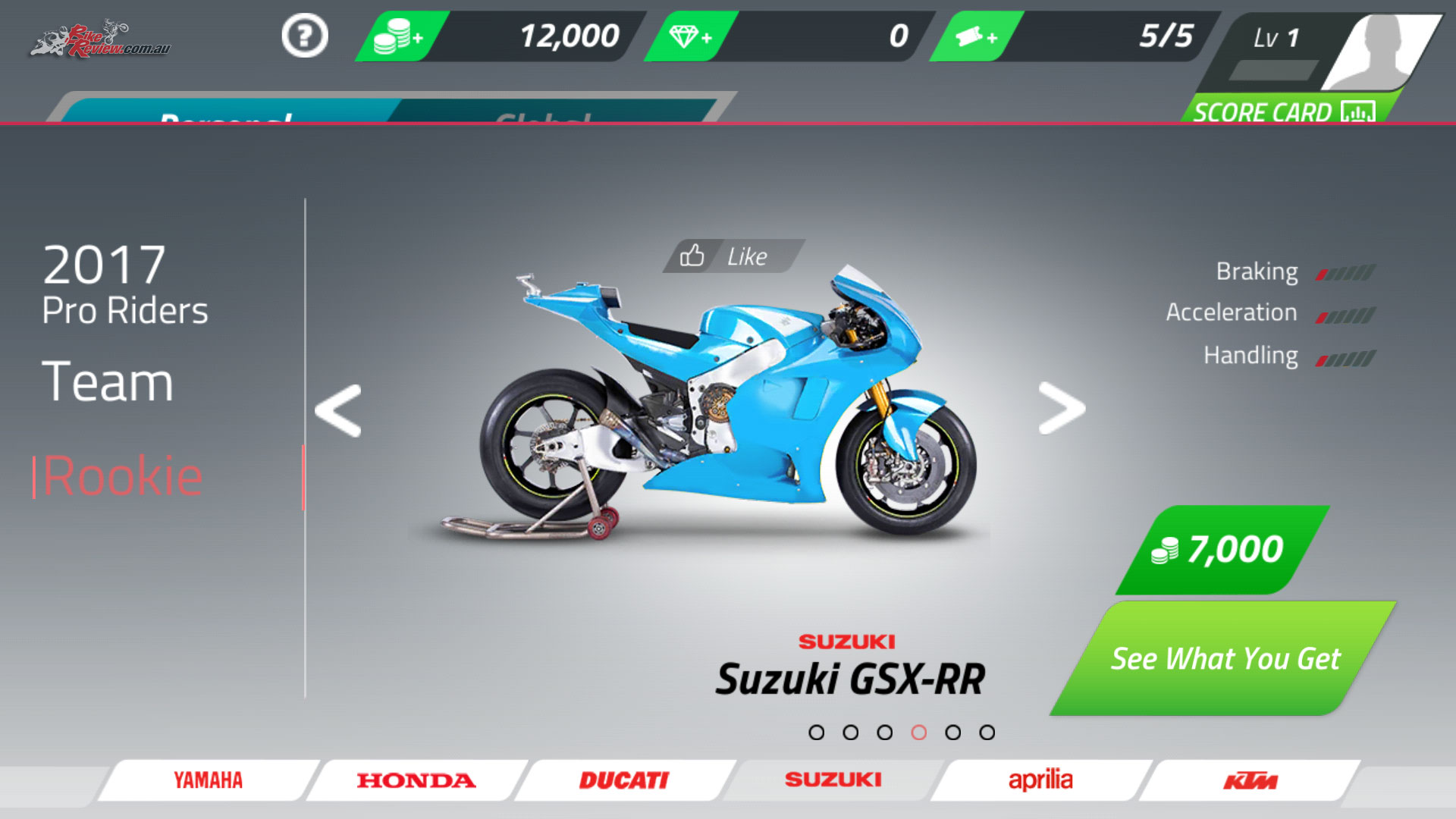 Bike choices for your Rookie machine include Yamaha, Honda, Ducati, Suzuki, Aprilia and KTM