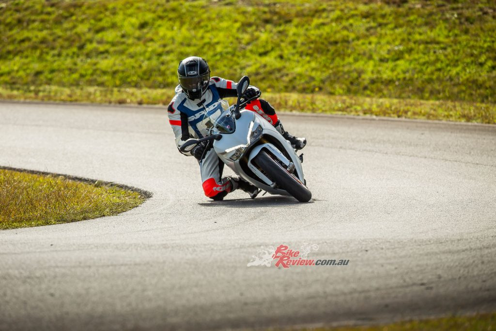 With 48º of lean angle available, the SuperSport and SuperSport S can really be punted hard through the turns with confidence. The softer road suspension didn't need a clicker changed on the S version all day.