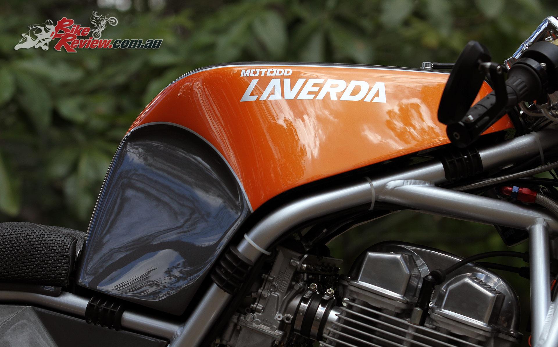 The Redax Laverda Motodd includes a carbon-fibre tank based on the originall Motodd design