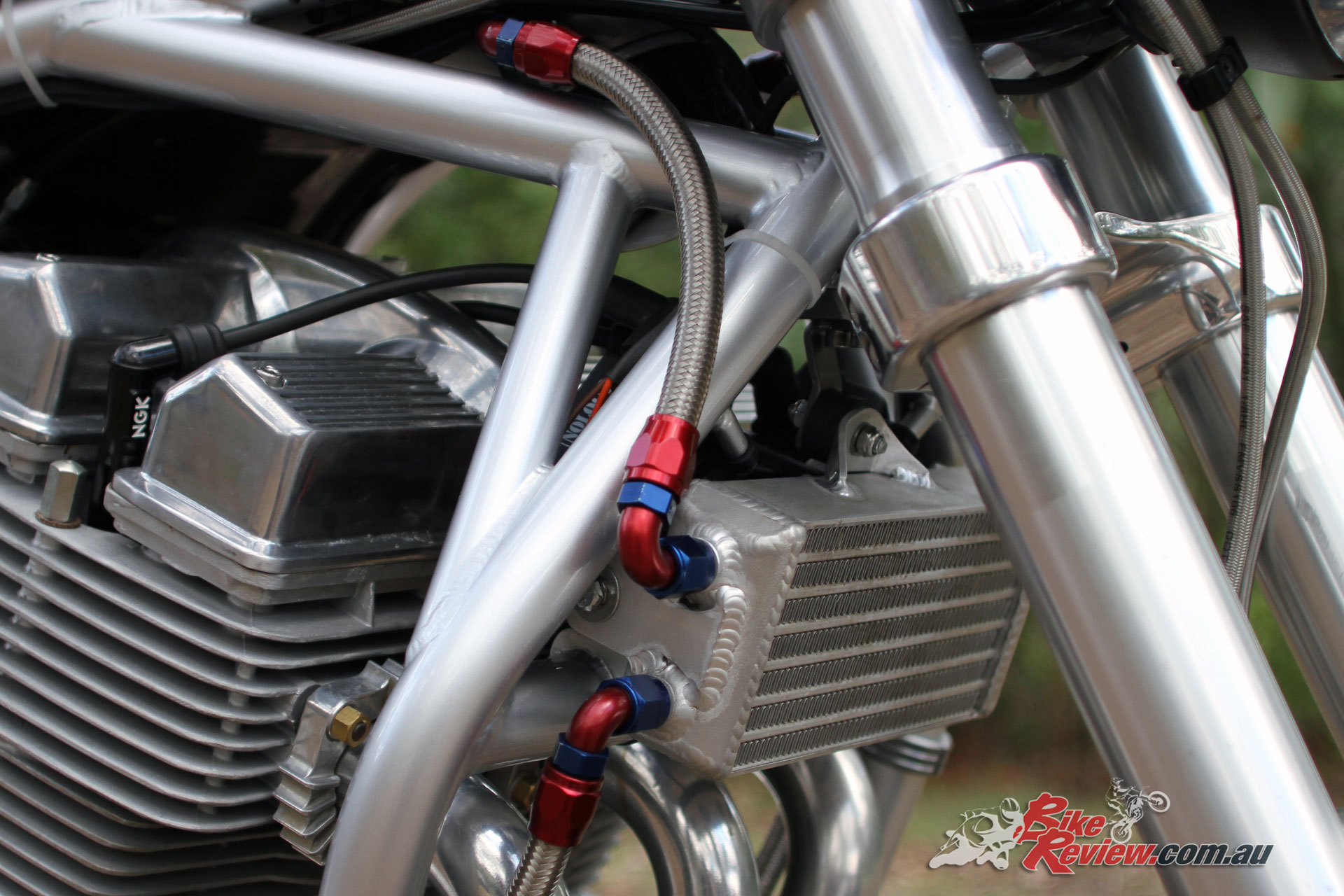 A custom dual-pass oil cooler by ARE Cooling