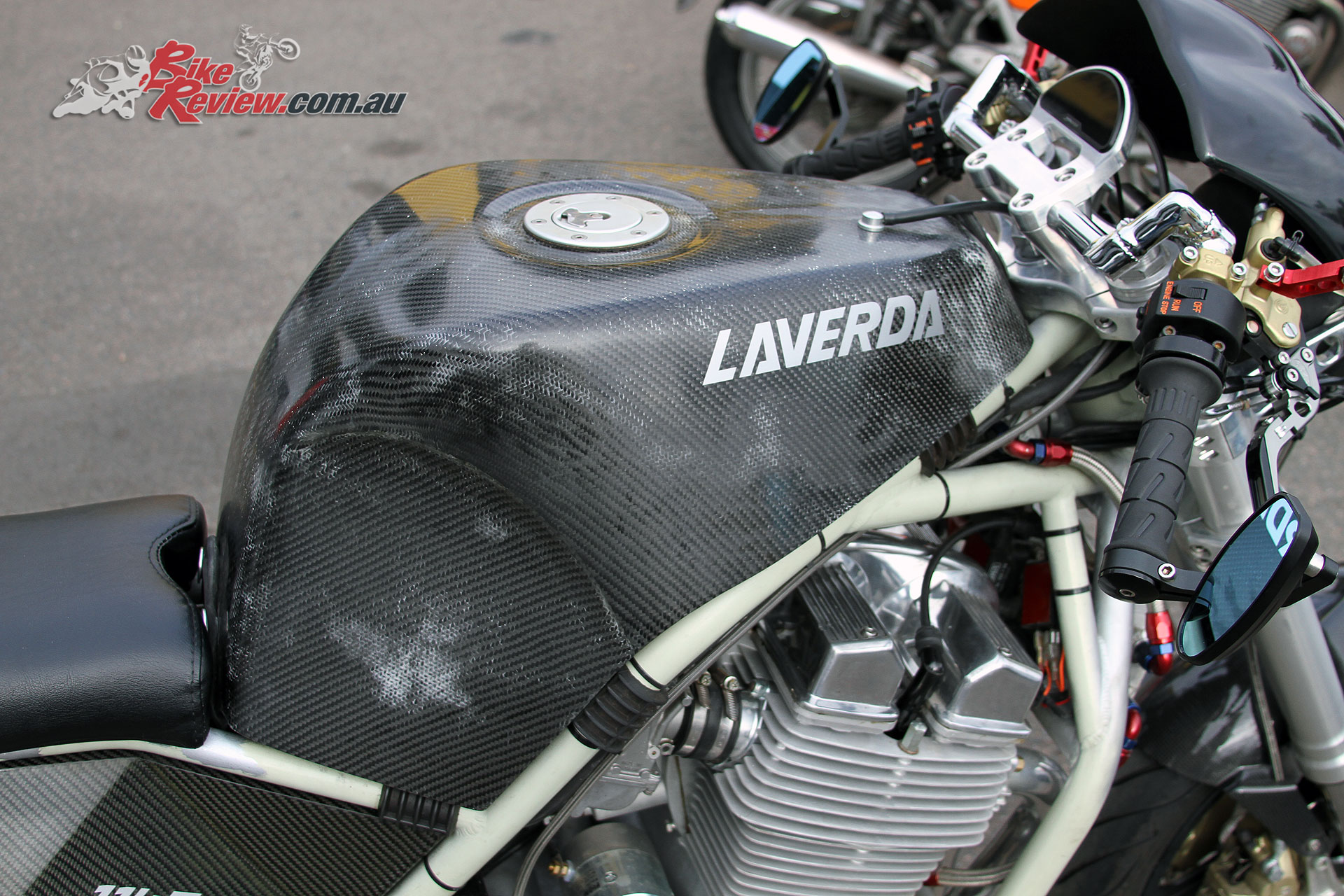 The carbon-fibre tank is one of two made by a fellow Motodd owner