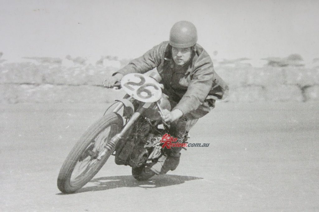 Barry Smith at Fisherman's Bend, February 1959, Barry's first road race. Pic: Chas Rice
