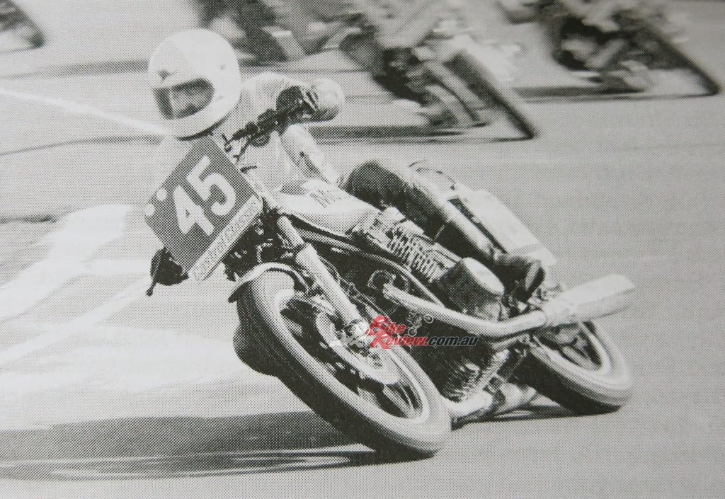 Barry could ride anything fast, two or four-stroke, big or small. Here he is snapped leading the Calder 2-Hour on the then new Yamaha XS750.