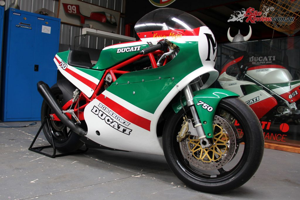 The MY17 Bob Brown TT2 SuperSport fairings came from an original mold of an early 1980s Bob Brown TT2 bike built for Daytona.