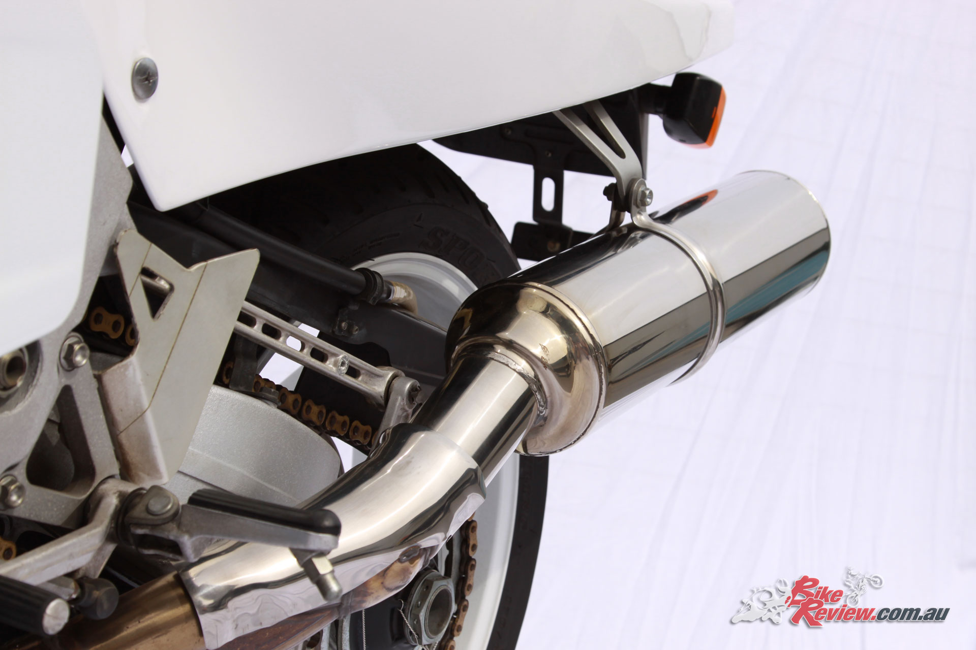The original exhaust robbed the bike of a fair bit of horsepower but the genuine HRC replacement was really the only other option