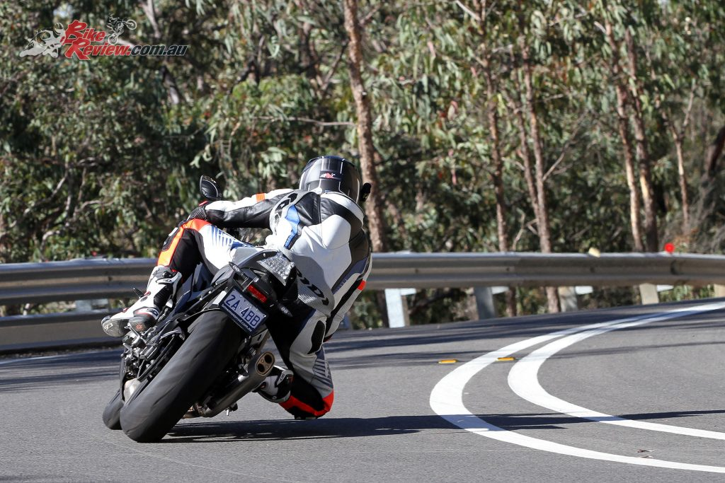 Turn-in is accurate on or off the brakes, the S 1000 RR goes where you look, important on the road.