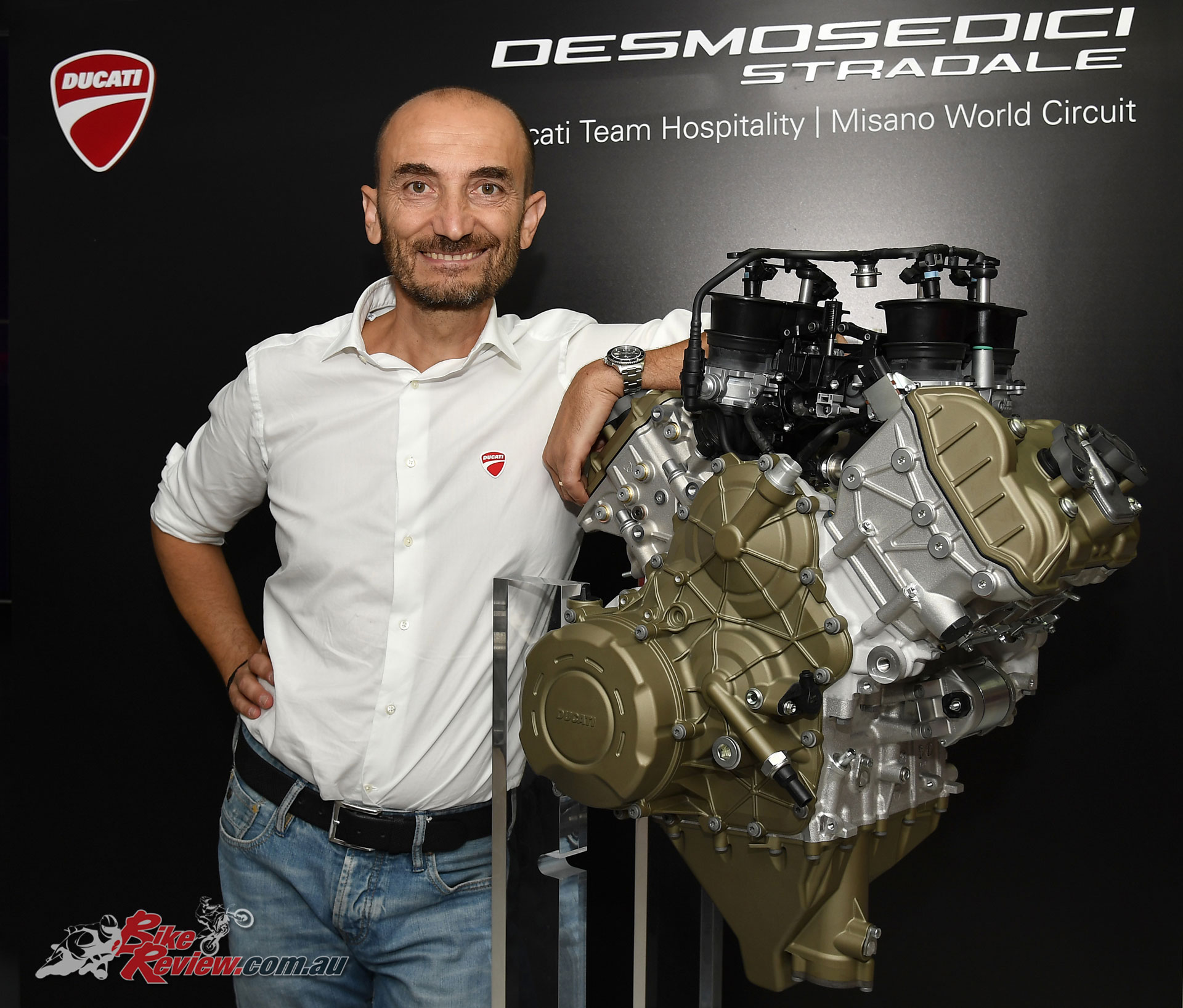 Claudio Domenicali and the Desmosedici Stradale powerplant