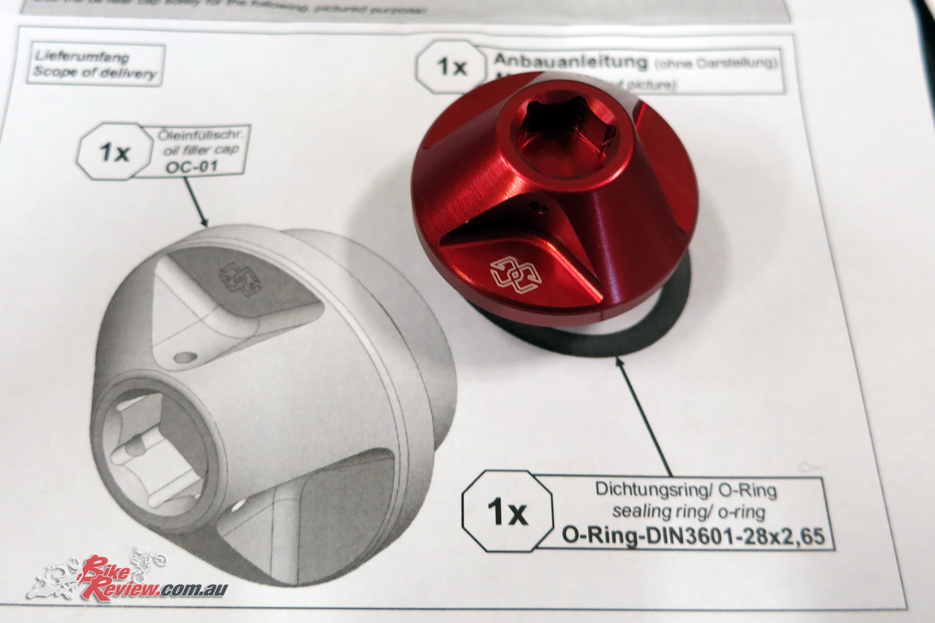 This Oil Filler Cap is available from Yamaha in three colours (Red, Blue and Titanium).