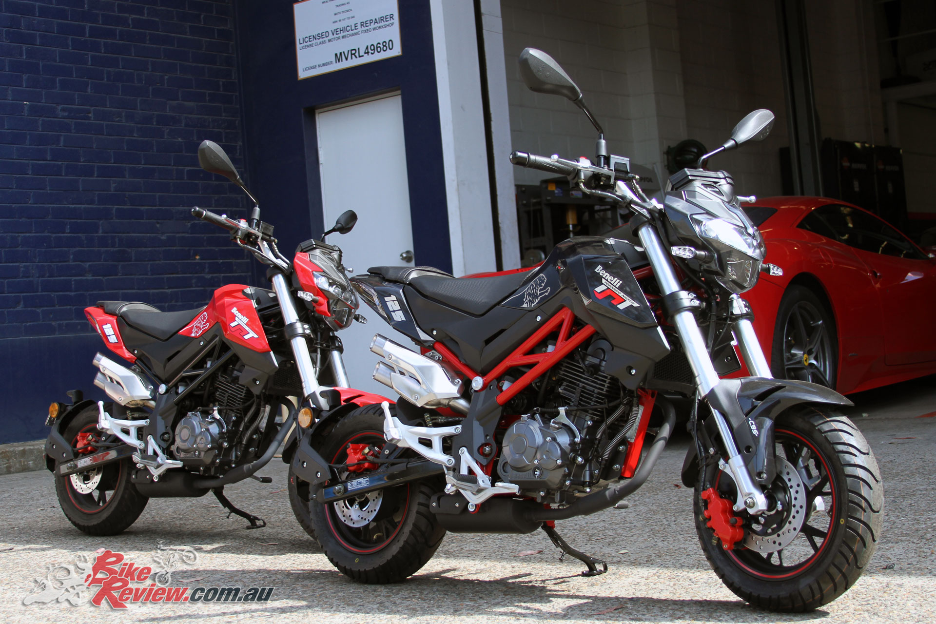 The Benelli TnT 125 in Black, and Red. The Black version features a cool red frame, while a White version is also available.