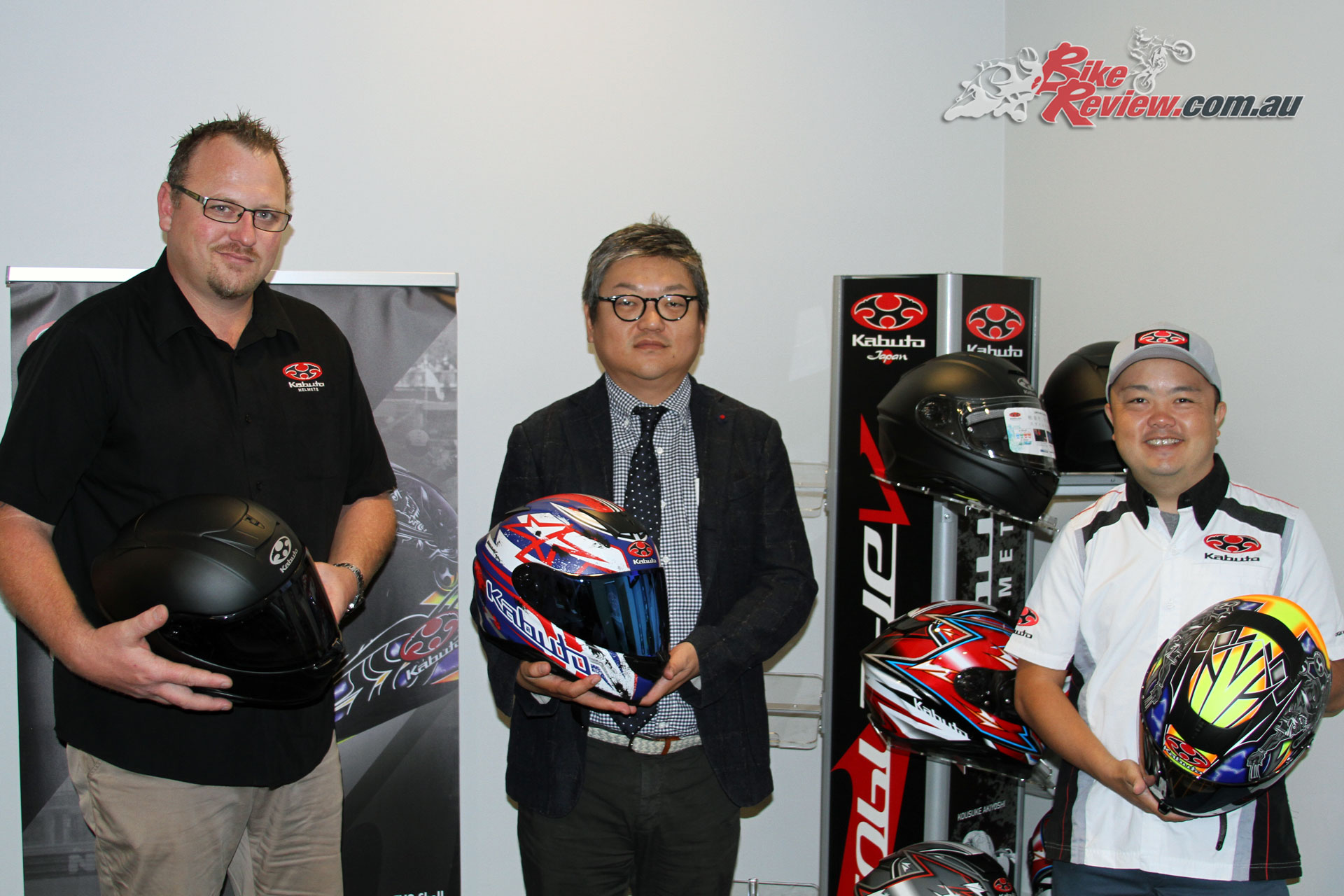Left to Right: Moto National's Chris Lynis, Kabuto Executive Director Hiroki Kimura and Overseas Operations Manager Ryohei Wada with the new Aeroblade-5
