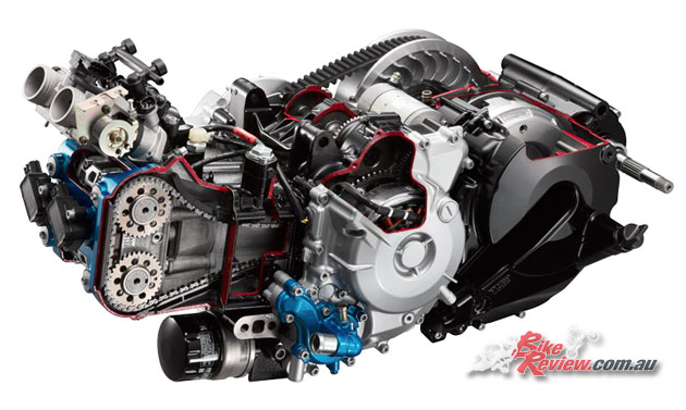 550cc, in-line twin cylinder, liquid-cooled, DOHC, 8 valves