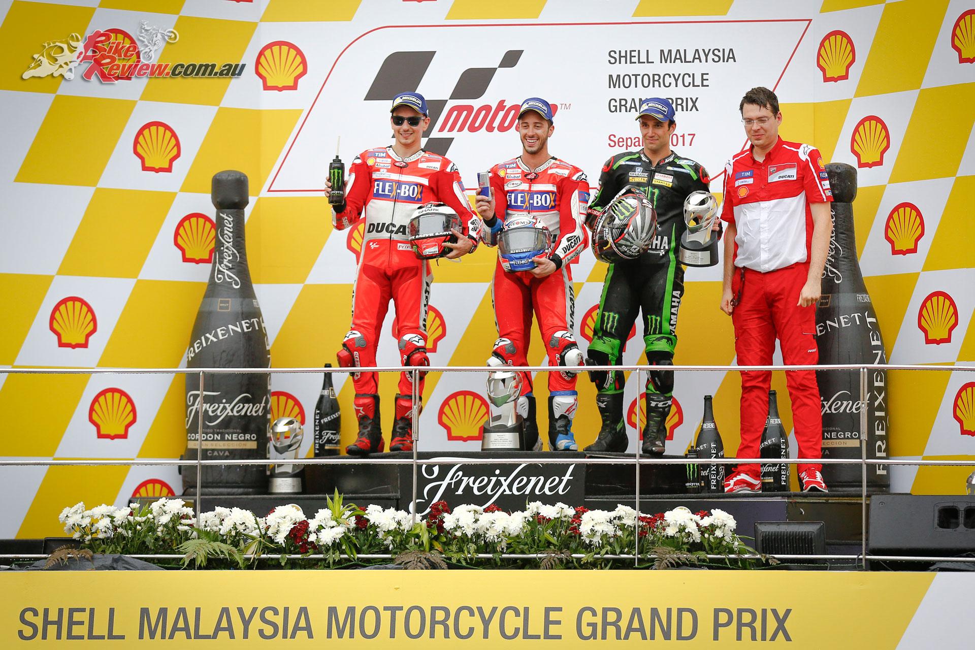The dual Ducati podium at Sepang, with Johann Zarco third