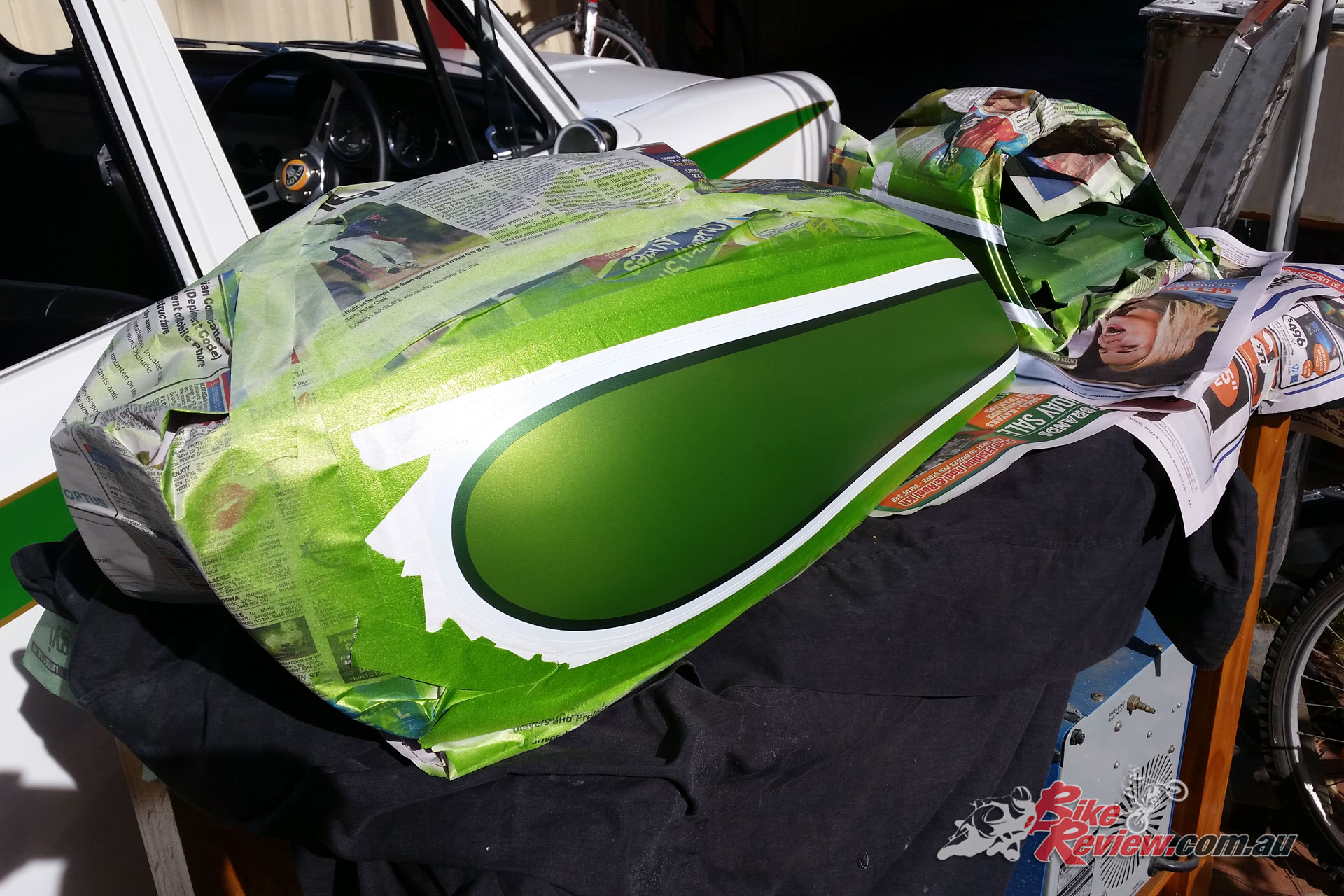 Bodywork being painted is timely and costly, so doing it yourself (if possible) is well worth it. The colours aren't original, but maintain the theme.