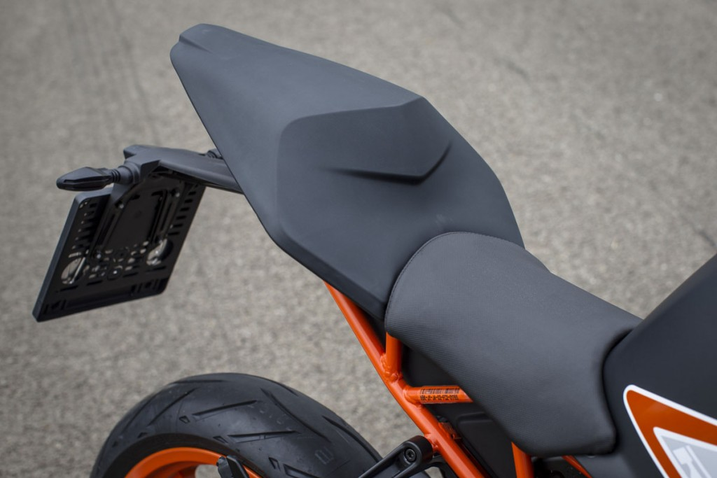 The RC 390's seat height is tall at 820mm, but the seat is more comfortable than previous iterations.