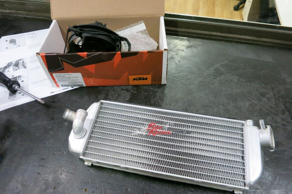 Removing the radiator was the first step to fitting the KTM Fan.