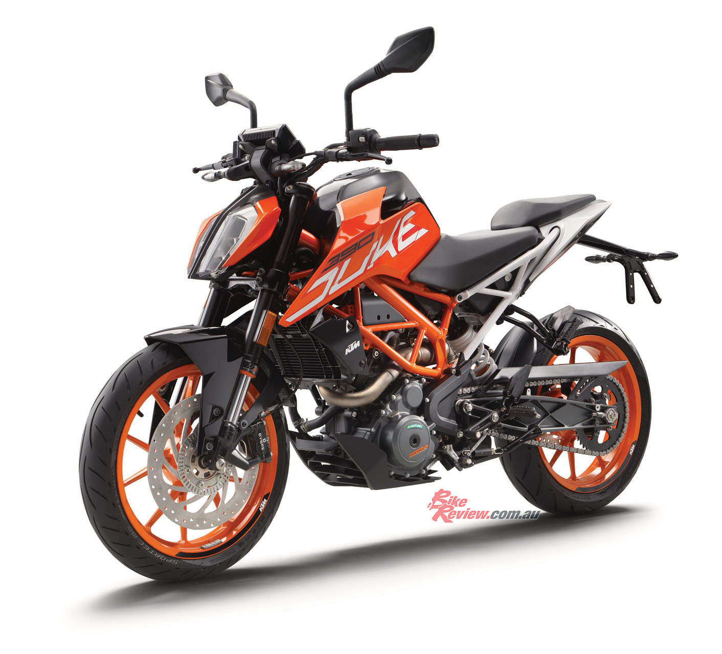 The 390 Duke looks great in both orange and white colour options.