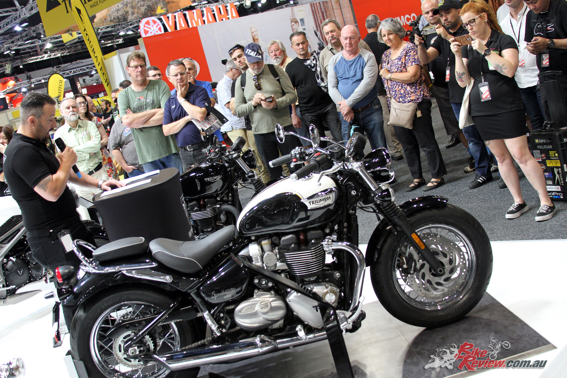 Triumph's Bobber Black and Speedmaster were both on display