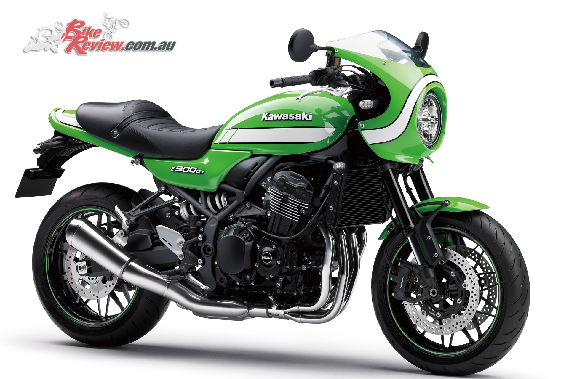 The Z900RS Cafe features the same core ergonomics as the standard RS, but includes dropped 'racer style 'bars