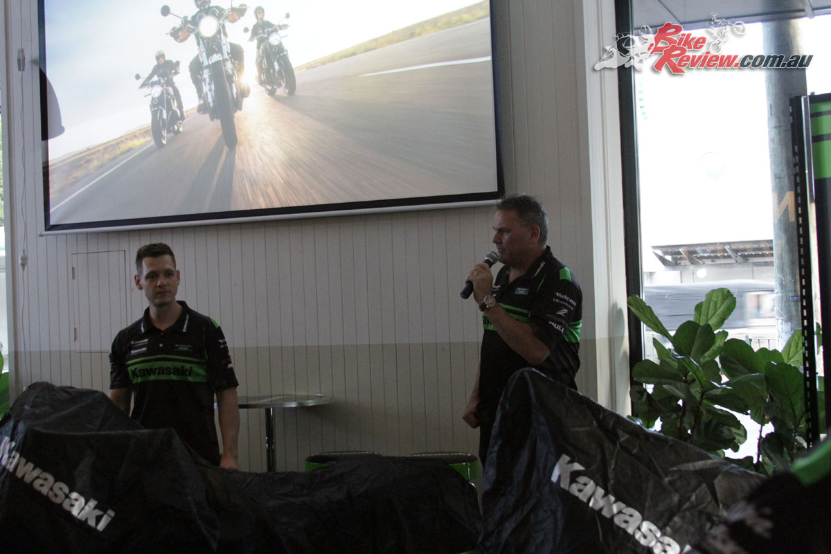 Rob Walker (Kawasaki Marketing Manager) and Milo Dokmanovic (Kawasaki Marketing Coordinator) introduced the Z900RS and Z900RS Cafe