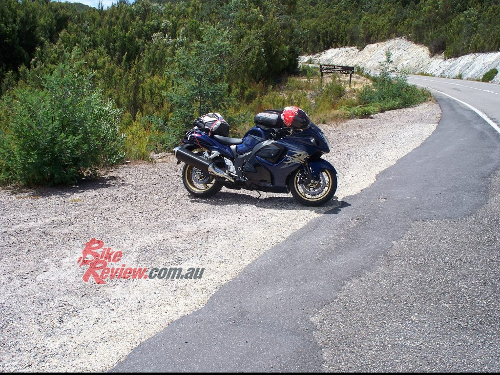 Jeff Ware Heather Ware with their Hayabusa in Tasmania in 2008.