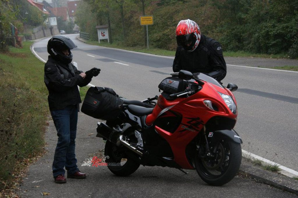 Jeff and Heather touring Germany in 2007 on the Gen2 Hayabusa.