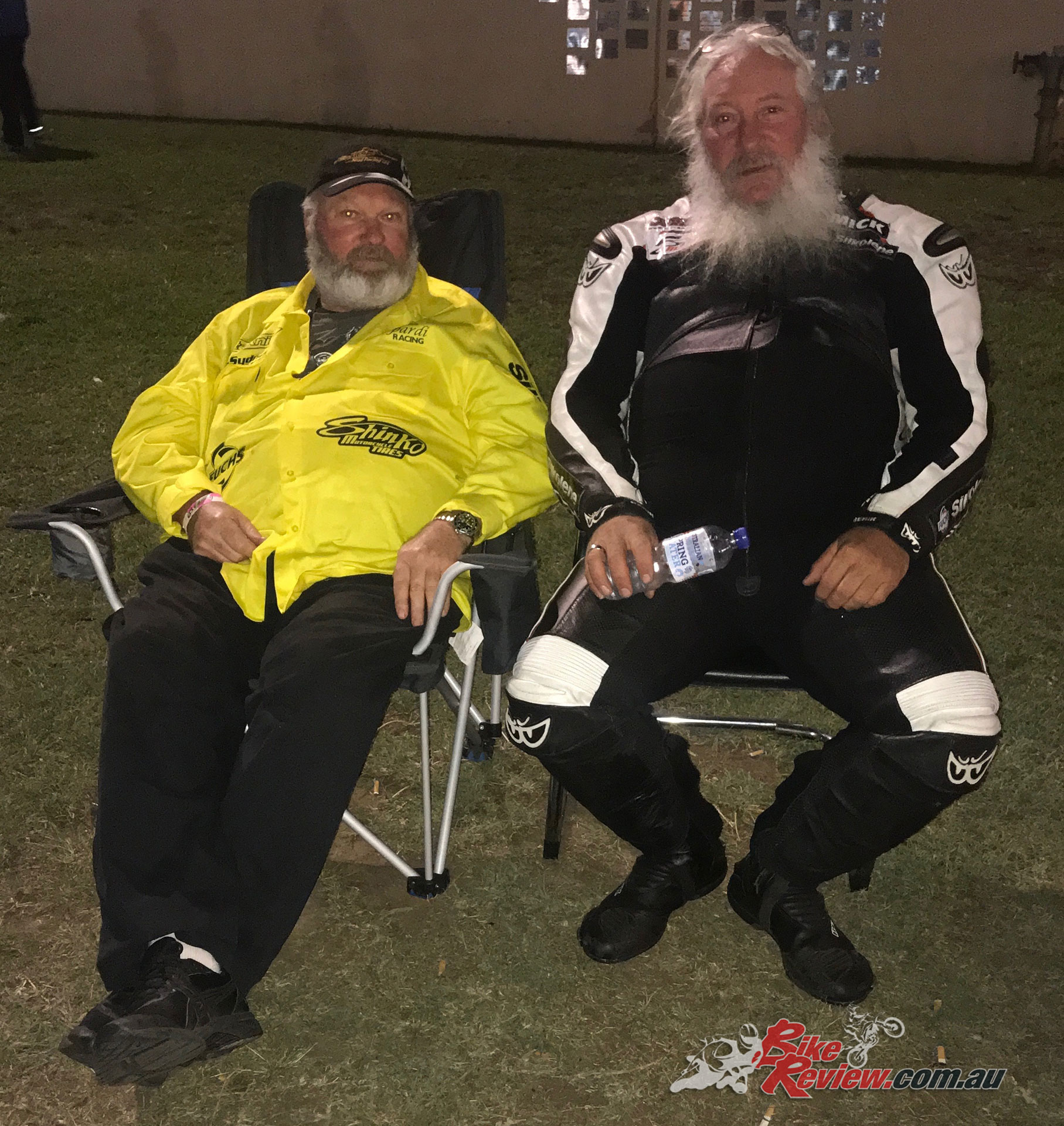 Relaxing with Athol Williams before the first round of eliminations late on Saturday night.