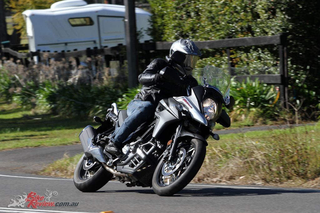 The V-Strom 650XT handles fast country roads superbly and can be a really fun bike to scratch on.