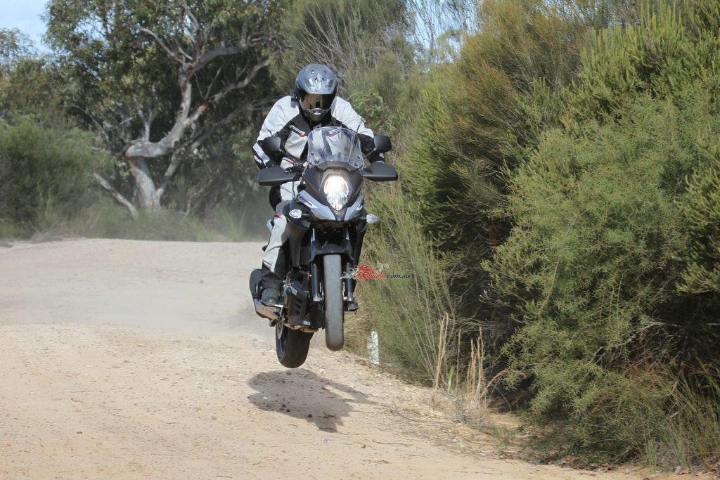 Off road the 650XT is a blast, soaking up dirt road and trails with ease. Fast dirt roads are a blast!