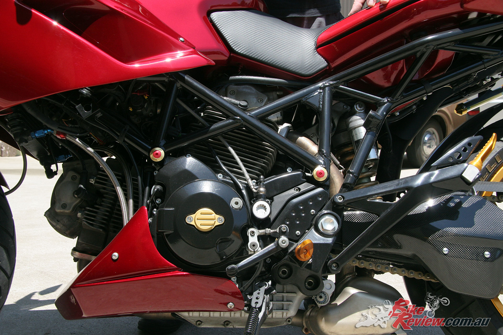 The standard two-valve 2004 Multistrada powerplant benefits from a Power Commander and aftermarket exhaust