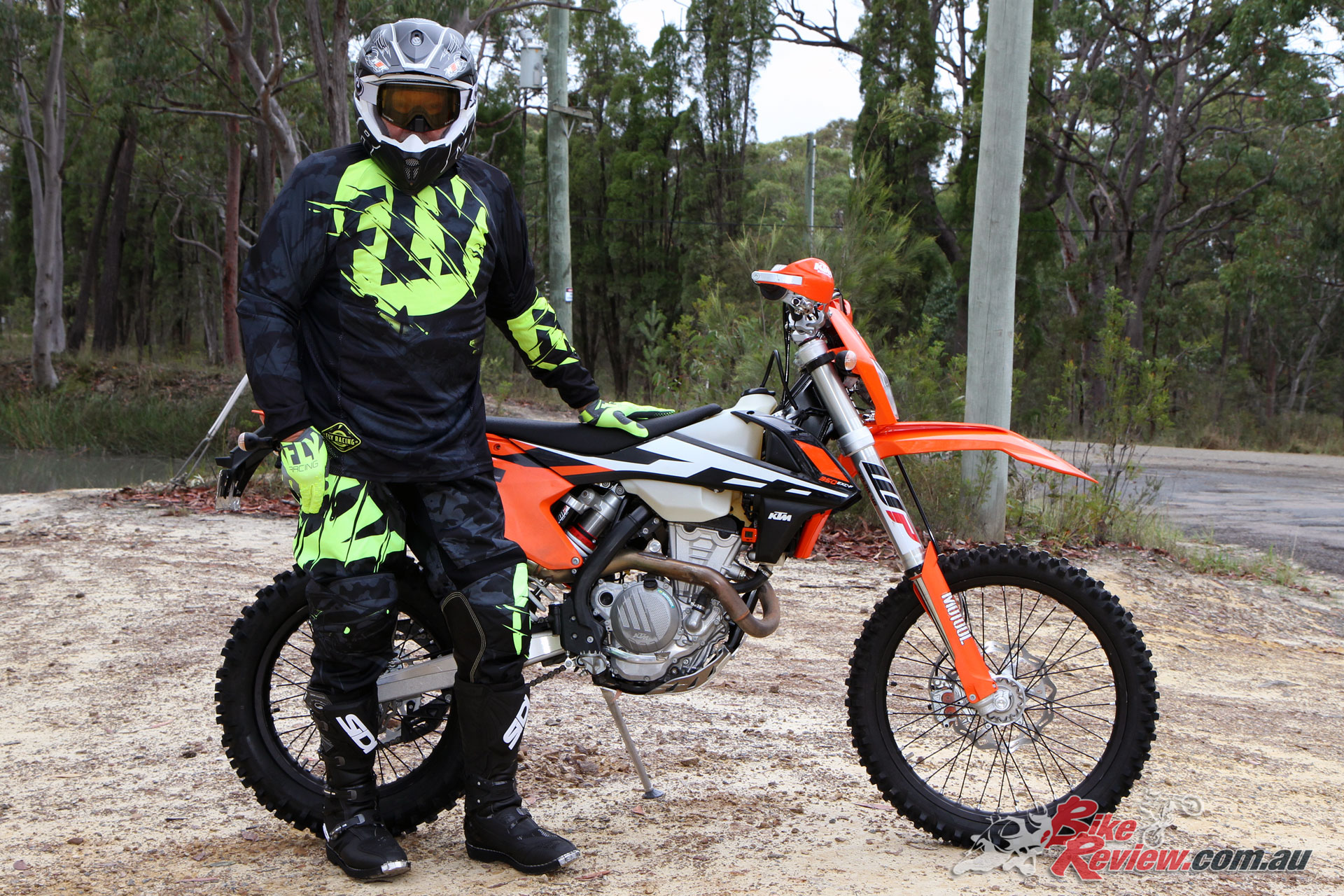 Mark in his Fly Racing gear, M2R X-4.5 Helmet and with the Bike Review Long Term 350 EXC-F