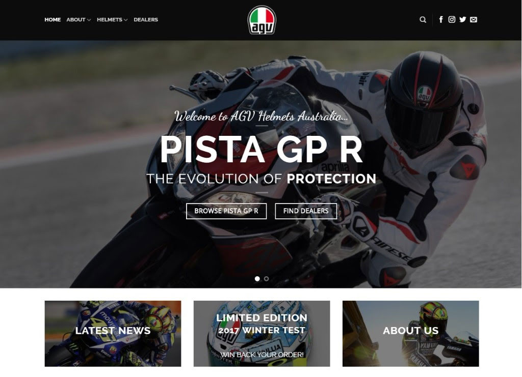 Check out the new AGV Helmet website