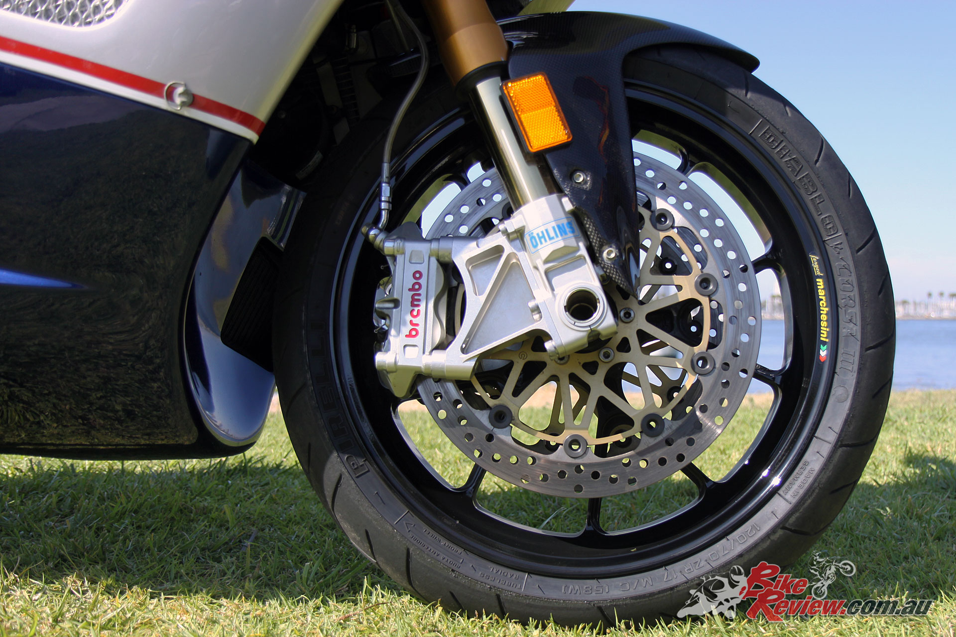 Ohlins suspension is featured front and rear, with Brembo brake calipers on the front