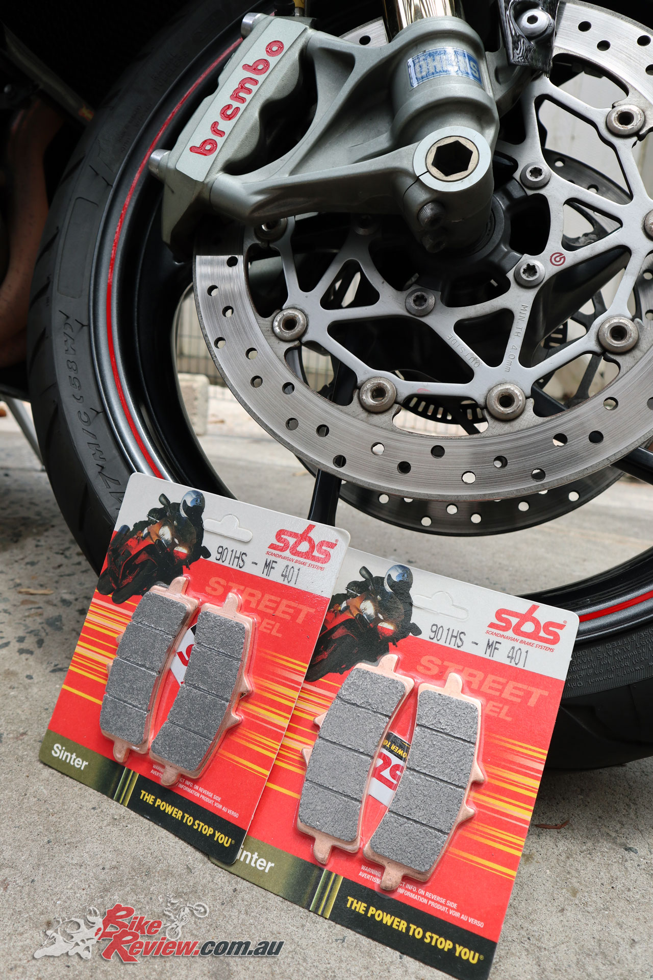 Here's the SBS Street Excel HS Brake pads ready for installation