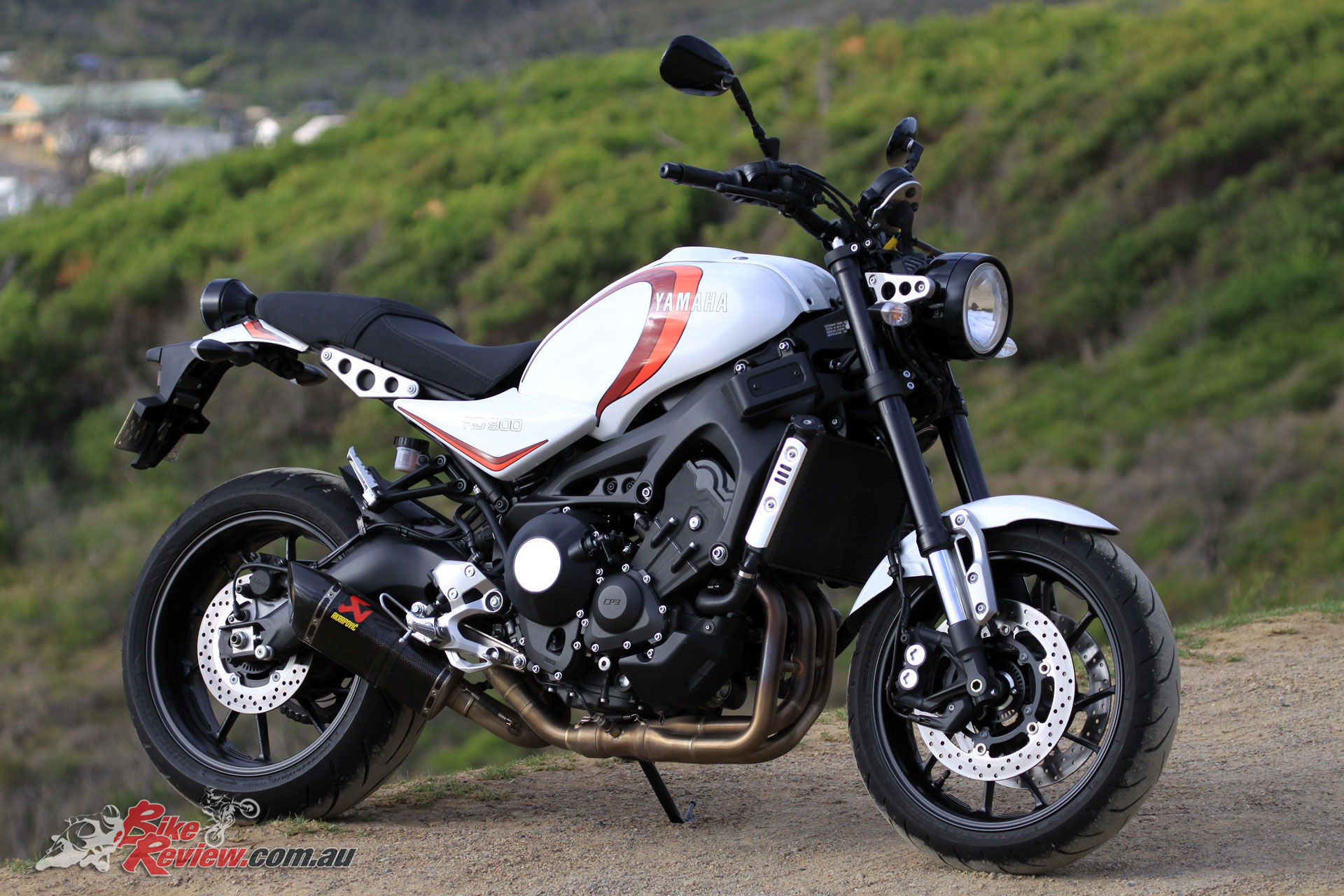 The previously tested 'RD' styled XSR900 also from Yamaha, fitted with an Akrapovic exhaust