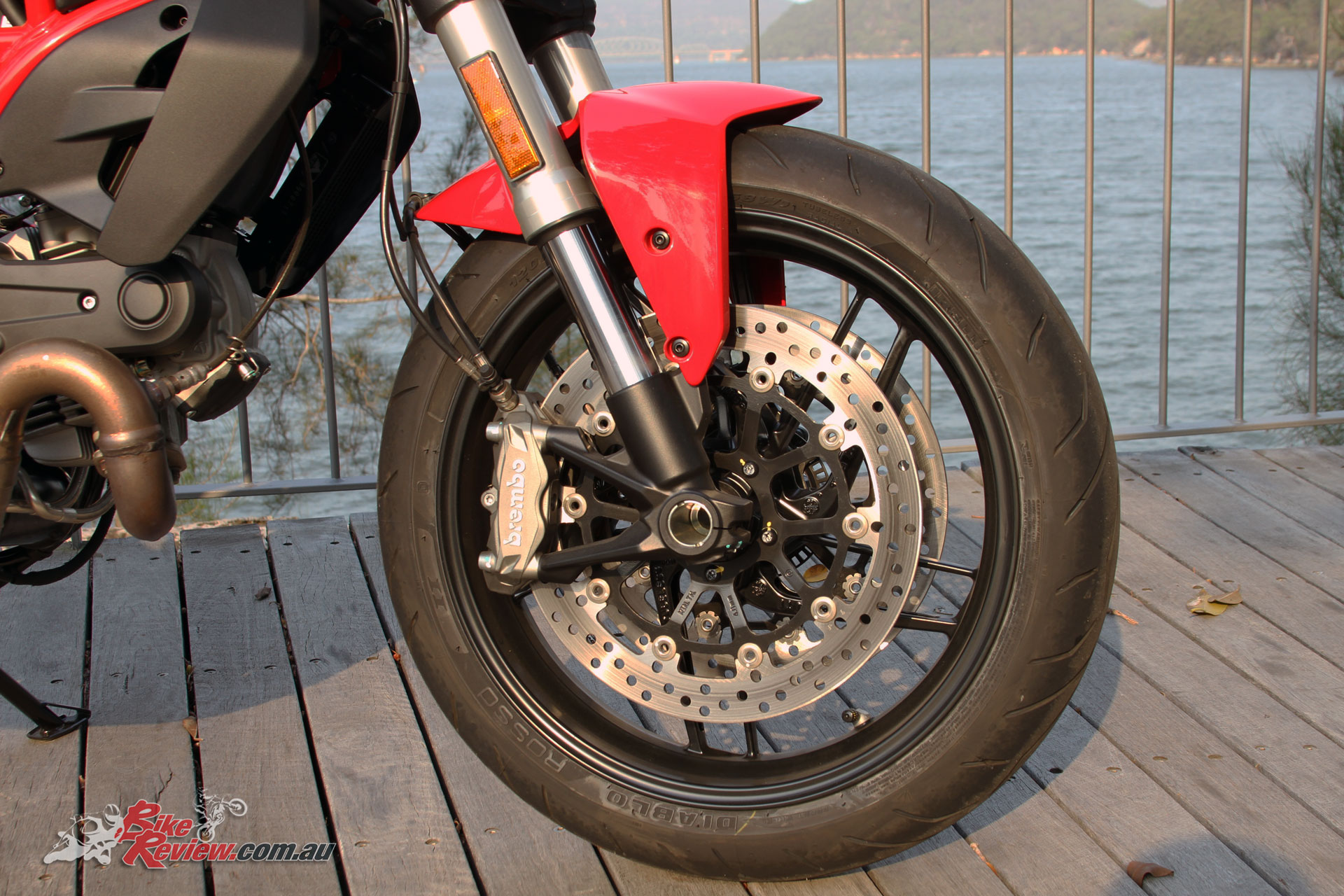 Dual Brembo calipers offer exceptional braking performance