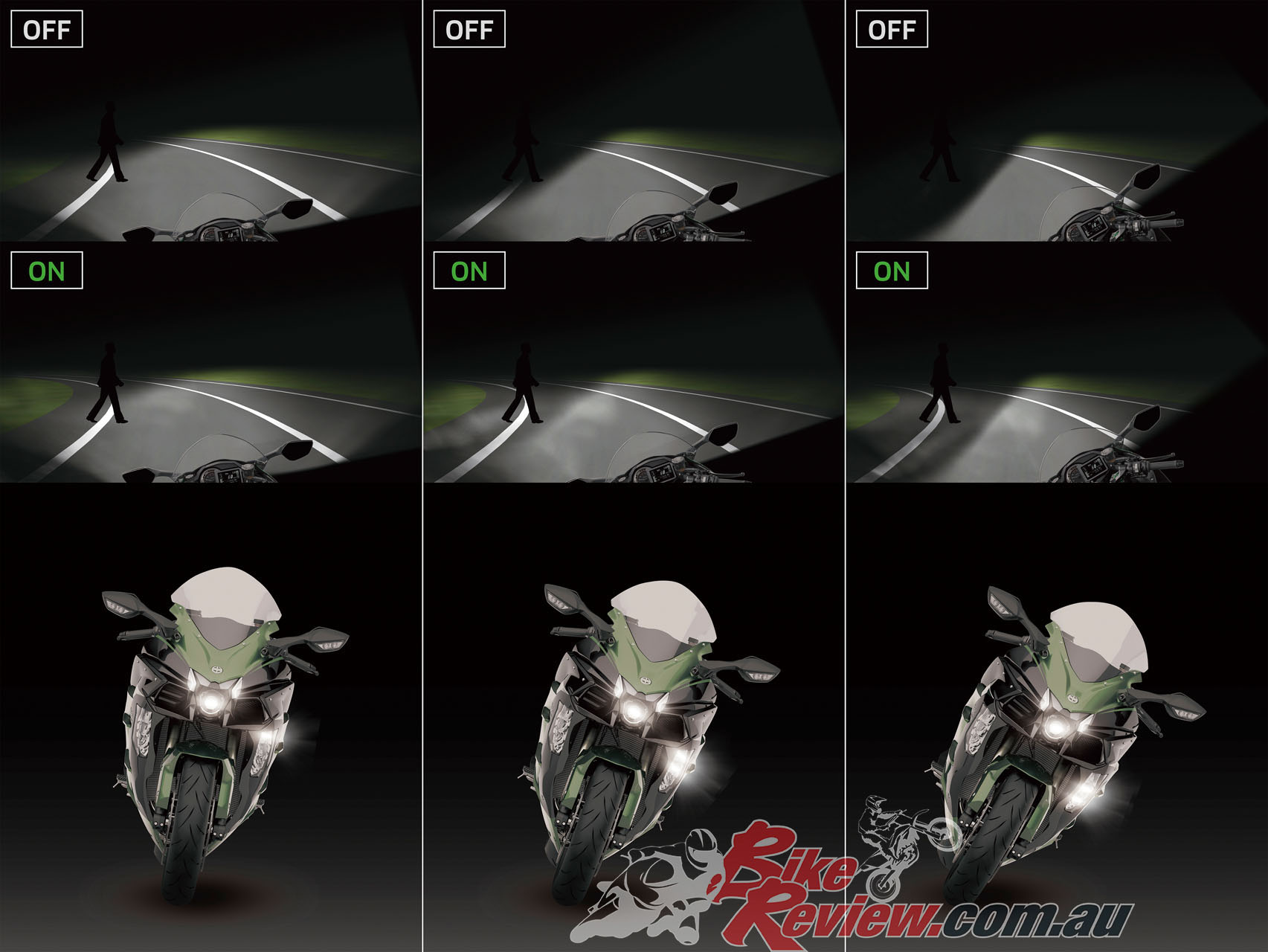 Kawasaki's cornering lights are found on the SE and offer greater cornering directed lighting at higher lean angles