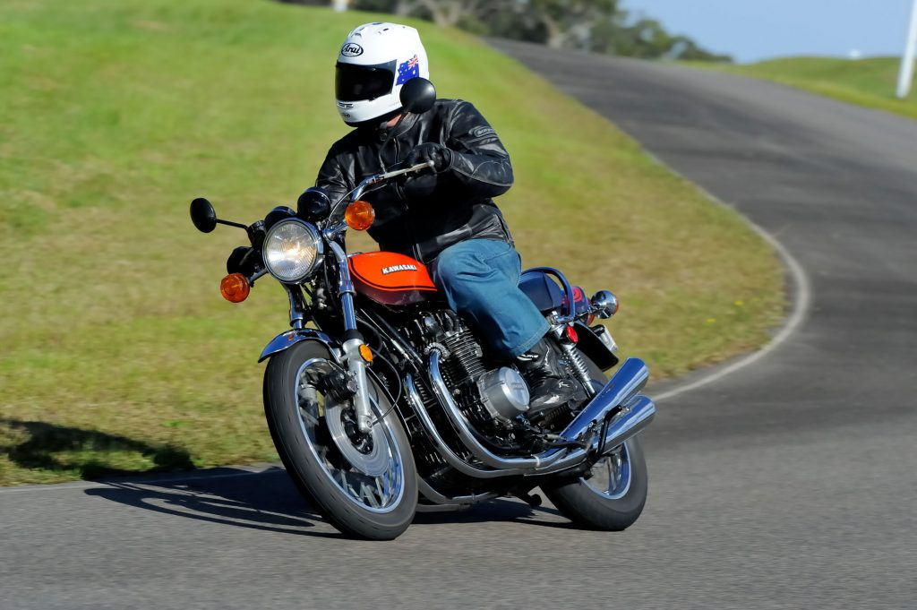 Jeff riding a mint Jaffa Z1 owned by Eric Soutens. The bike was an absolute blast and the new Z900RS definitely felt like it has Z1 genetics... Pic: Keith Muir