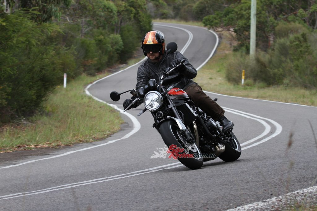 The Z900RS is a big bike to muscle around but with the right input it is very much a capable bike in the corners. It is not as nimble as the Z900 but just as much fun and the brakes are better.
