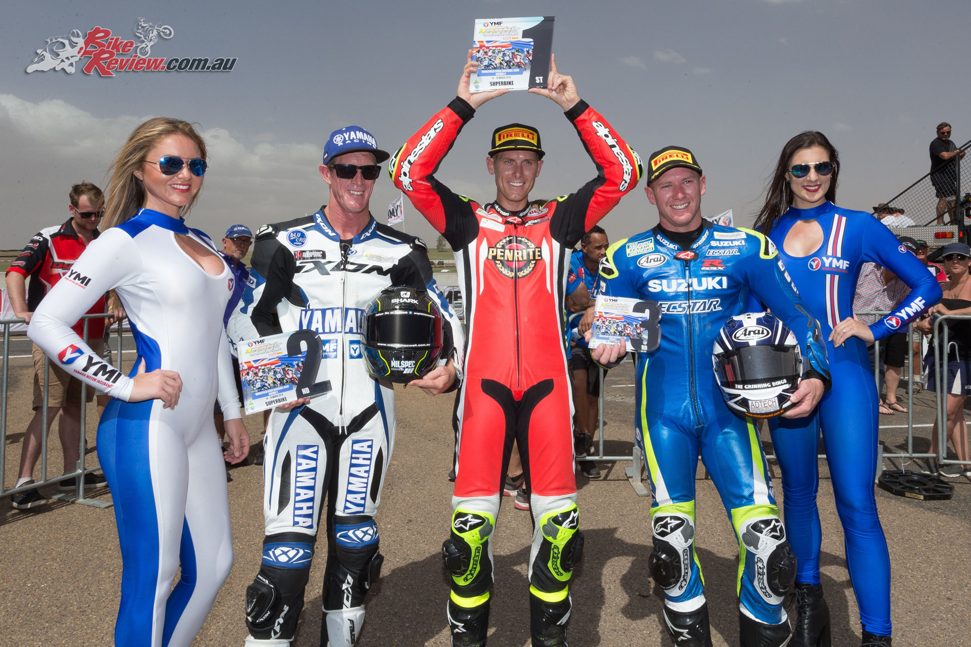 ASBK Round 2 Wakefield Park - Overall Round Podium - Maxwell (2), Herfoss (1), Waters (3) - Image by TBG Sport